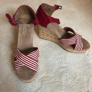 TOMS Strappy Wedge Red
